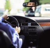 Rear-view spiegel en dashboard stock foto