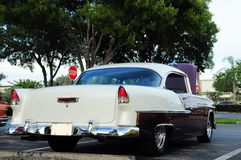 Rear view of sports car. Rear view of a 1955 Chevrolet Bel Air parked in a South Florida parking lot Royalty Free Stock Photos