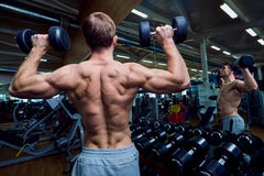 Rear view of a sporty man with dumbbells in his arms in the gym stock photo