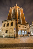 Rear View of St Mary Basilica in Krakow at Night Royalty Free Stock Images