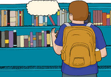 Rear View of Student at Library Stock Photography