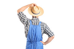 Rear view, studio shot of an agricultural worker. Isolated on white background royalty free stock images