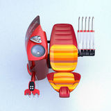 Rear view of stylish dental unit equipment with colorful stripe pattern chair Stock Photo