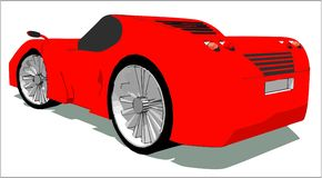 Rear view of the super car vector illustration