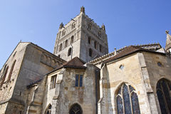 Rear view of tewkesbury abbey stock image