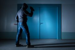 Thief Standing Outside The Door Stock Images