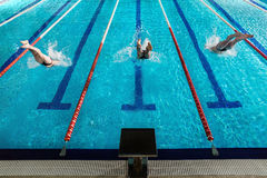 Rear view of three male swimmers diving into a pool. Rear view of three male swimmers diving into a swimming pool Stock Photo