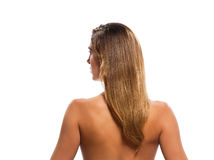 Rear view topless blond hair woman portrait Stock Photo