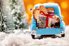 Rear view of toy truck filled with cookies Stock Photos