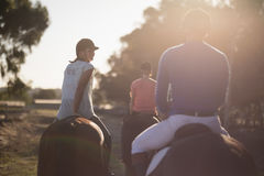 Rear view of trainer with women riding horses at barn royalty free stock photo