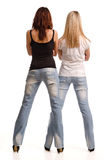 Rear view of two girls in tight Royalty Free Stock Photo
