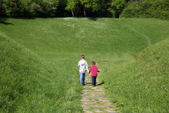 Rear View Of Two Little Boys Holding Hands And Walking Through The Green Field Towards The Forest Stock Image