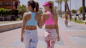 Rear view of two sexy shapely young women. In colorful trendy tights or leggings walking along a promenade side by side stock video