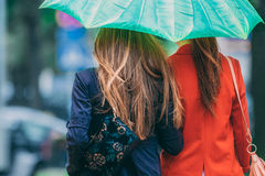 Rear view of two women friends walking under umbrella Royalty Free Stock Photography