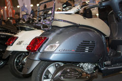 Rear view of Vespa gts 300 motorcycle Stock Images