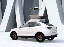 Rear view of white electric SUV released drone for leisure entertainment. 3D rendering image vector illustration