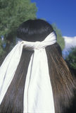 The rear view of a white head band on a Native American Cherokee Stock Photo