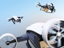 Rear view of white VTOL drones carrying delivery packages flying in the sky. 3D rendering image Royalty Free Stock Image