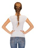 Rear view of woman in blank white t-shirt Stock Images