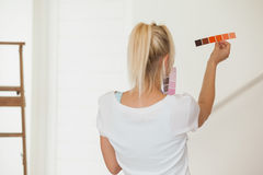 Rear view of woman choosing color for painting a room Stock Photography