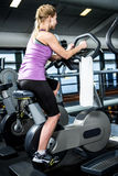 Rear view of woman doing bike exercise stock photo