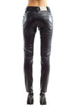 Rear view of woman legs in black leather trousers Royalty Free Stock Photo