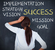Rear view of a woman looking at success terms Stock Image