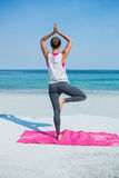 Rear view of woman practicing yoga in tree pose at beach Royalty Free Stock Photography