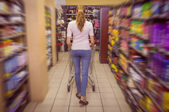 Rear view of woman pushing trolley Stock Photos