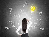 Rear view of woman, questions and light bulb. Rear view of a woman with black hair scratching her head and looking at yellow light bulb and question marks with Stock Photography