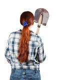 Rear view of woman with spade Royalty Free Stock Image