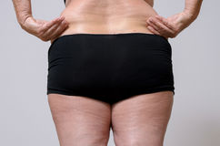 Rear View of a Woman in Underwear Holds Fat Belly Stock Images