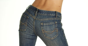 Rear view of woman wearing denim jeans Royalty Free Stock Images
