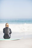 Rear view of woman in wetsuit sitting with surfboard on the beach Royalty Free Stock Image