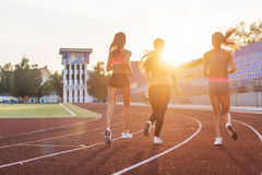 Rear view of women athletes running together in stadium. Royalty Free Stock Photo