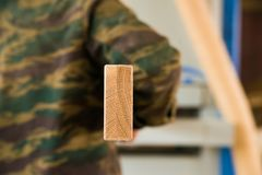 Carpenter with wooden beam back view royalty free stock image
