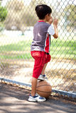 Rear view of young basketball player Royalty Free Stock Images