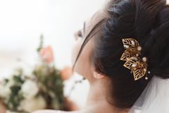 Rear view of young beautiful bride with a hair clip in hair. Professional make-up and hair-style. Rear view of young beautiful bride with a hair clip in hair Stock Photos