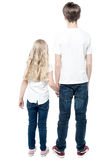 Rear view of young brother holding his sister. Stock Photo