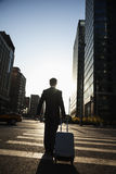 Rear view of young Businessman walking down the street with luggage Stock Image