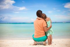 Rear view of young father and his little daughter Royalty Free Stock Images