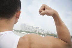 Rear view of young man flexing his bicep, tilt Royalty Free Stock Image
