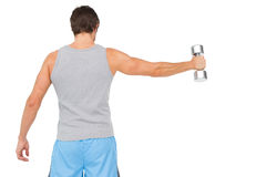 Rear view of a young man holding out dumbbell Royalty Free Stock Image