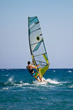 Rear view of young windsurfer Royalty Free Stock Photos