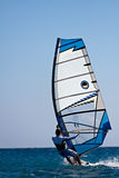 Rear view of young windsurfer Stock Photos
