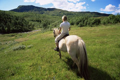Rear view of young woman riding horse. In rural setting Stock Images