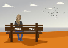 Rear view of young woman sitting on bench on seashore with miss you text on it in autumn. Rear view of young woman sitting on bench on the seashore with miss you vector illustration