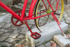 Rear wheel bicycle sink in concrete Royalty Free Stock Photography