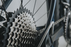 Rear wheel cassette and chain from a mountain bike. Royalty Free Stock Photos