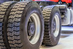 Rear wheel chassis with a tread from the truck. Type of rubber tread from the rear wheels of a large lorry Stock Image